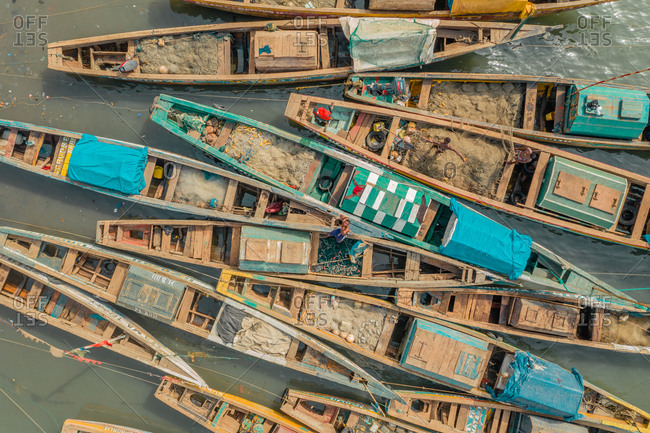 Aerial view of traditional fishing boat in Tombo city on Yawri bay, Sierra Leone.