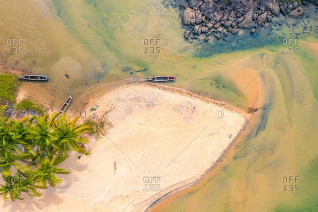 Aerial view of the beautiful Bureh beach in Western Area, Sierra Leone.