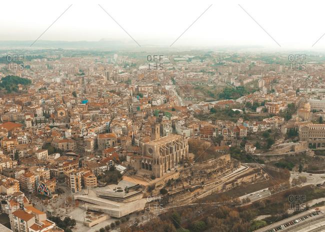 Aerial view of Manresa cityscape with Santa Maria de la Seu cathedral in Girona, Spain.