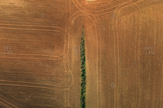 Aerial view of agricultural field near Sant Marti Vell, Girona province, Spain.