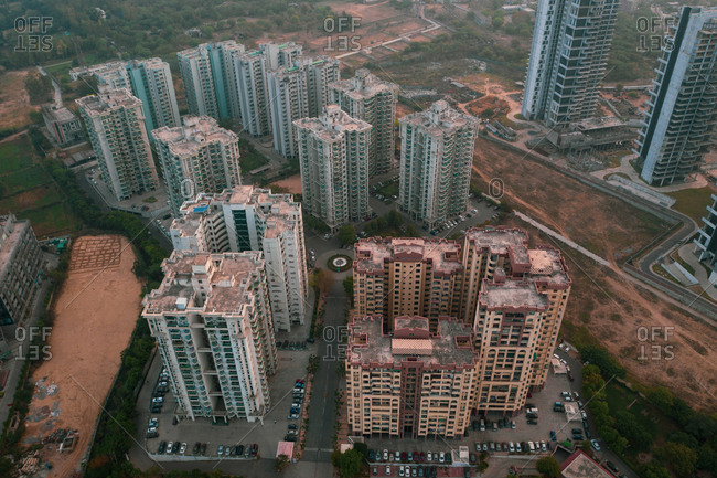 Aerial view of the skyscrapers financial district in Gurugram near New Delhi, India.