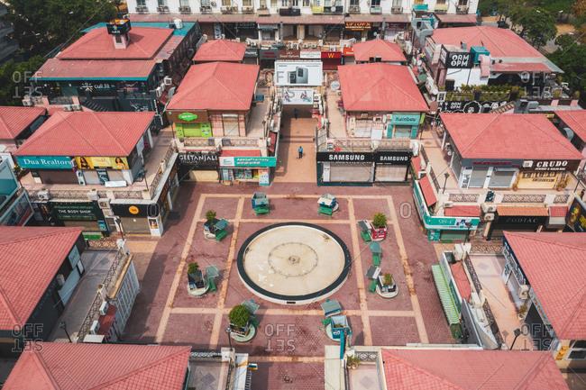 April 16, 2020: Gurugram, India16 April 2020: Aerial view of a small square in Gurugram, Haryana state, India.