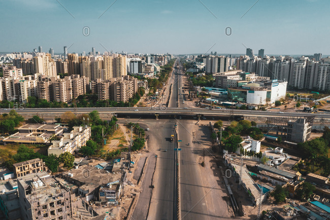 Aerial view of the wide road in Gurugram  during lockdown near New Delhi, India.