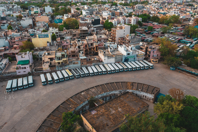 April 16, 2020: Aerial view of Gurugram bus station near the city of New Delhi in Haryana state during lockdown, India.