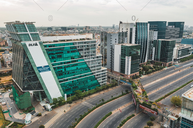 April 17, 2020: Gurugram, India17 April 2020: Aerial view of Gurugram financial district with tall building in Haryana state during lockdown. india.