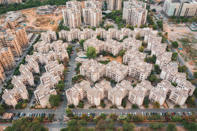 Aerial view of New Delhi suburb residential district in Haryana province during lockdown, India.