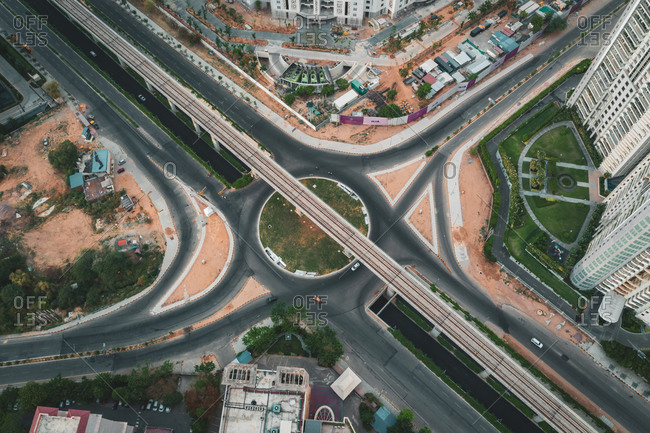 Aerial view of an empty roundabout in Gurugram, Haryana state near New Delhi during lockdown. India
