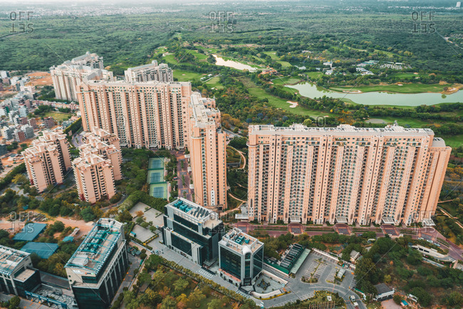 Aerial view of Gurugram residential district near New Delhi in Haryana state, India.