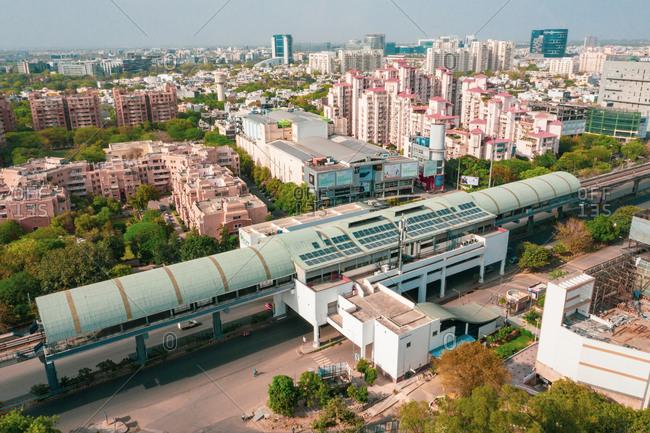 April 18, 2020: Gurugram, India18 April 2020: Aerial view of the train station in Gurugram residential district, Haryana state during lockdown, India.