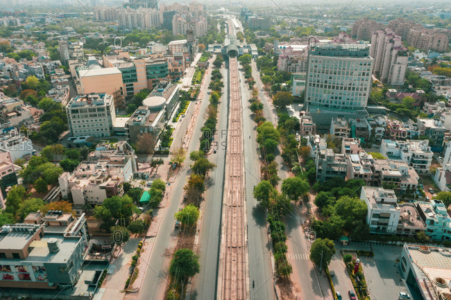 April 18, 2020: Aerial view of an empty highway in Gurugram near New Delhi in Haryana state during lockdown. india.
