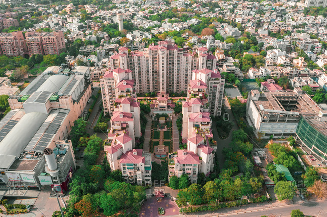 April 18, 2020: Aerial view of Gurugram residential district near New Delhi in Haryana state, India.