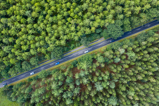 Aerial view of a few car driving in a straight countryside road in the middle of the forest in Saxony, Germany