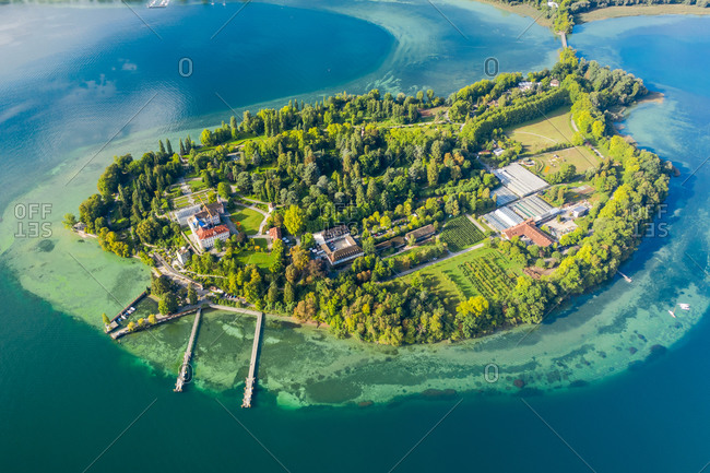Aerial view of the beautiful little island of Mainau on Lake Constance near the small city of Konstanz, Germany.
