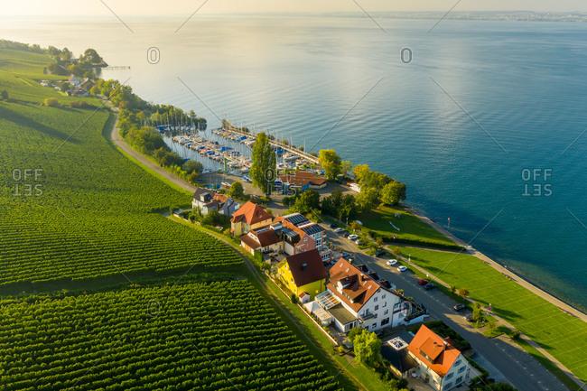 Aerial view of Meersburg village on Lake Constance in Baden-Württemberg province, Germany.