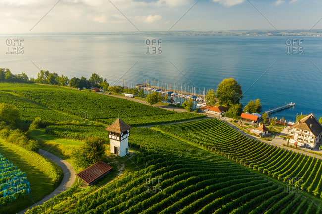 Aerial view of a small tower building in the countryside with vineyard near the village of Meersburg, Constacne lake, Germany.