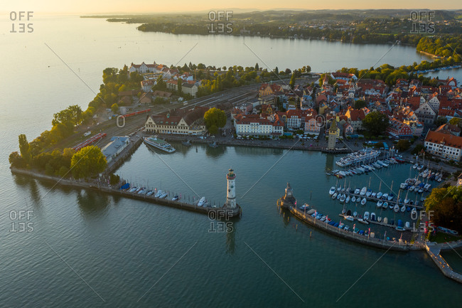 Aerial view of the beautiful little town of Lindau and the harbor on the Lindau Island at Constance lakefront, Germany.