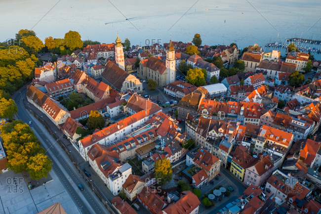 Aerial view of the beautiful little town of Lindau on the Lindau Island at Constance lakefront, Germany.