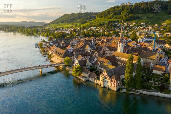 Aerial view of the beautiful town of Stein am Rhein on Rhein riverside, Switzerland.