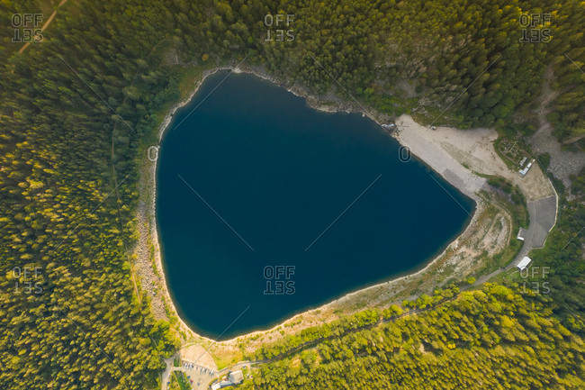 Aerial view of the beautiful little lake Blanc in Haut-Rhin region, France.