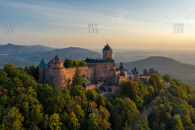 Aerial view of the Chateau du Haut-Koenigsbourg castle at sunset, Orschwiller, France.
