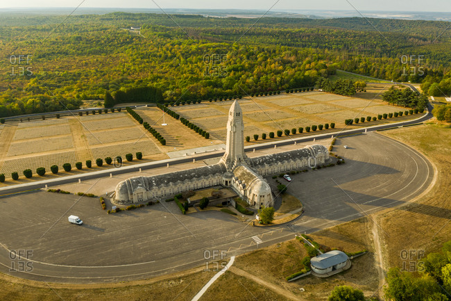 September 16, 2020: Verdun, France16 September 2020: Aerial view of the beautiful and majestic Douaumont Ossuary cemetery in northern region of Lorraine, France