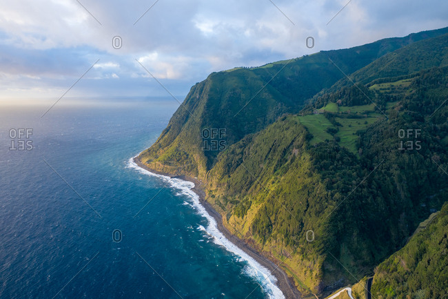 Aerial view of the beautiful coast from the Miradouro da Ponta do Sossego, a high point of view on Sao Miguel Island in the Azores archipelagos, Portugal.