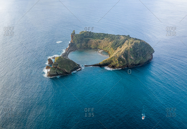 Aerial view of the Vila Franca do Campo in the Azores Archipelagos. Sao Miguel island, Portugal.