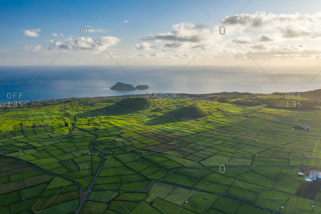 Aerial view of two volcano with plantation field on Terceira Island, Azores, Portugal.