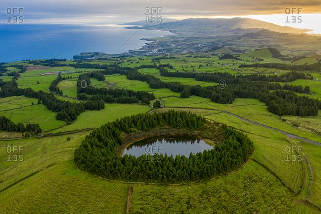 Aerial view of Lagoa Pau Pique on Terceira Island. Azores archipelagos, Portugal.