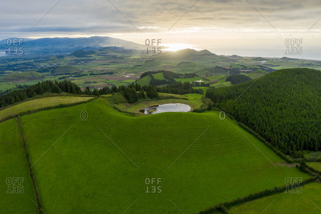 Aerial view of the volcanic landscape on Sao Miguel Island. Azores archipelagos, Portugal.