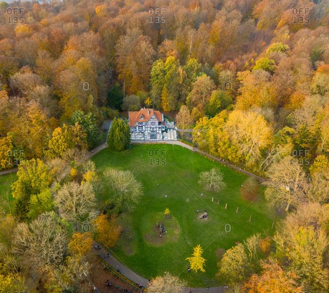 Brussel, Belgium14 November 2020: Aerial view of the Chalet du Laerbeek in the north western district of Laerbeek. Belgium