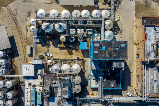 Aerial view of a petrol chemical processing plant and storage facilities.