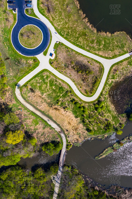 Aerial view of a footpath along the East Branch DuPage river in Chicago, United States of America