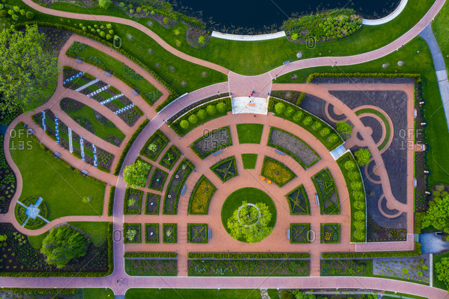 Aerial view of the flower beds of Cantigny Park in Wheaton, IL in early spring, USA.