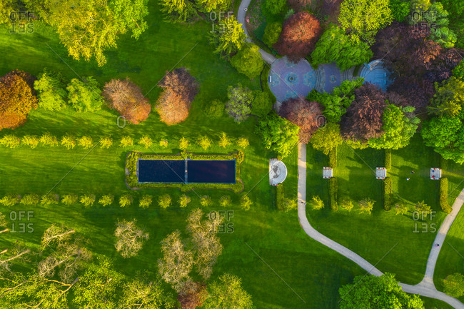 Aerial view of the terraces at Cantigny Park in Wheaton, IL in early spring.
