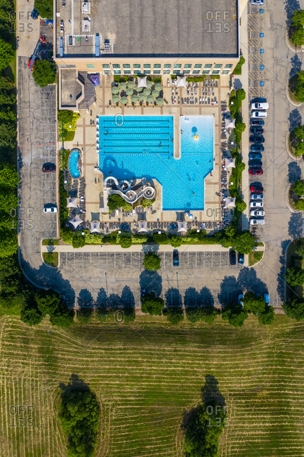 Aerial view of a swimming pool with slide in Romeoville near Chicago, Illinois, United States of America.