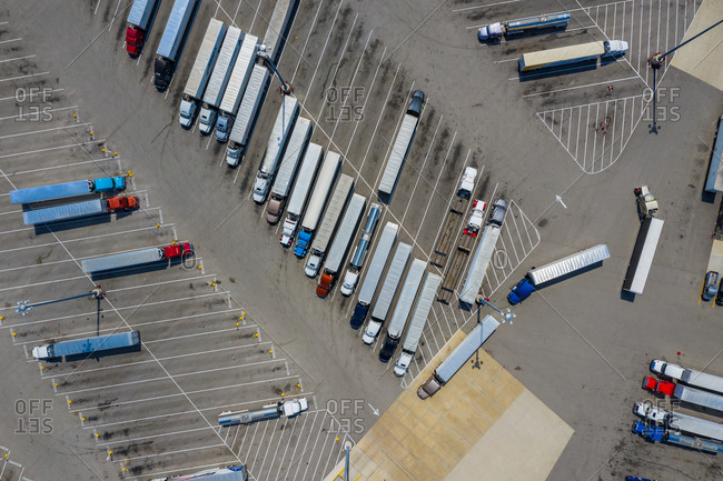 Aerial view of a huge parking lot with trucks in Wilmington near Chicago, Illinois, United States of America.