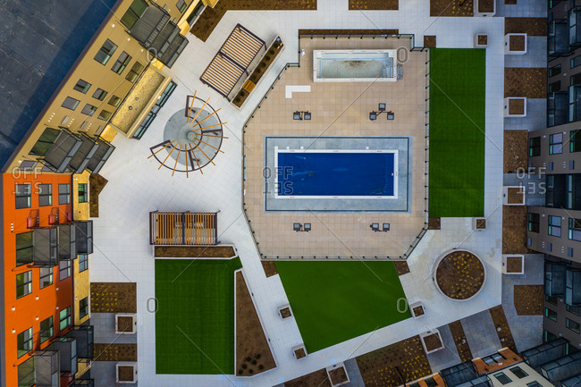Aerial view of a geometric residential building in Chicago, Illinois. United States of America.