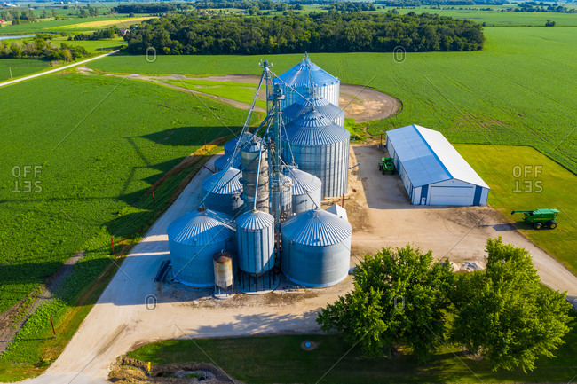Aerial view of a silos in Kaneville township near Chicago in Illinois region. United States of America.