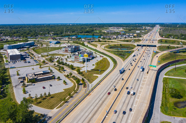 August 16, 2020: Aerial view of the big junction highway road in the south district of Chicago in Illinois during a beautiful sunny day, United States of America