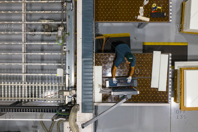 September 17, 2020: Chicago, Illinois17 April 2019: Aerial view of a man working in a logistic factory in Chicago, IL, United States of America.