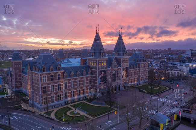 March 11, 2020: Aerial view of The Rijksmuseum during golden hour in Amsterdam, The Netherlands.