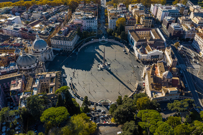 November 17, 2020: Aerial view of an empty Piazza del Popolo, Municipio I, Rome, Italy.