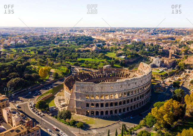 Aerial view of The Colosseum, Celio, Rome, Italy.