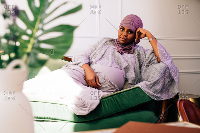 Portrait of pregnant woman wearing a Hijab