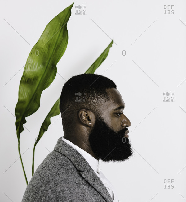 Man with a beard dressed in a grey suit posing in front of a plant