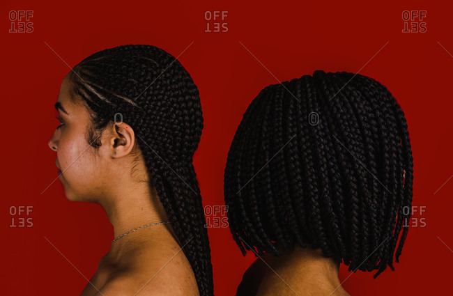 A side profile close up shot of two Black women standing back to back with long and short braided hair