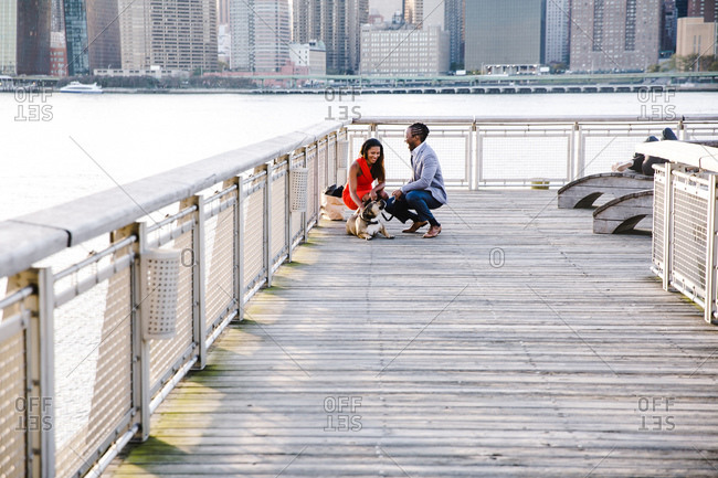 Horizontal shot of a happy black couple squatting by their dog on a pier with copy space