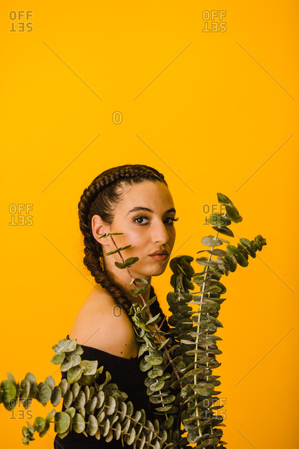Vertical portrait of a Latina woman posing behind a eucalyptus plant with a golden background