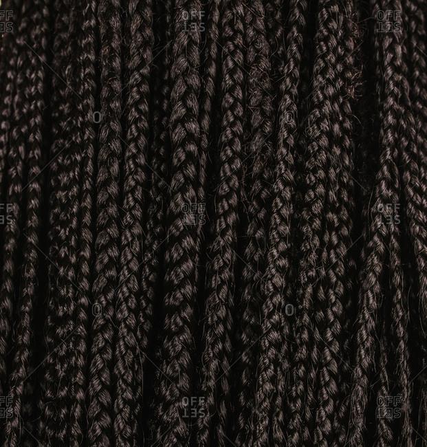 Close up of dark brown braid extensions